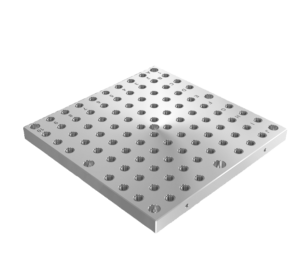 Interchangeable subplates, grey cast iron, with grid holes